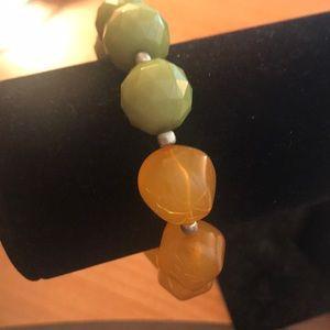 Jewelry - Green/orange beaded bracelet